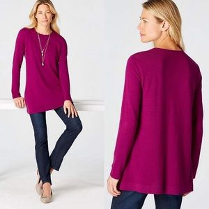 NWT J. Jill Sugar Plum Thin Knit  Tunic Sweater